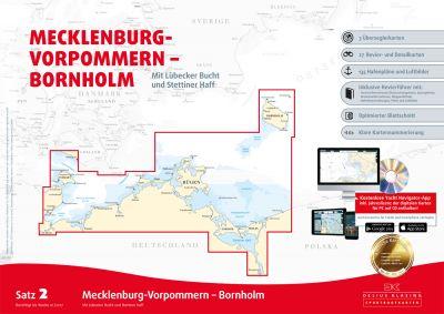 Delius Klasing Seekartensatz 2  Mecklenburg Vorpommern Bornholm Papier & Digital