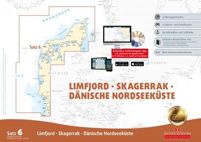 Delius Klasing, Seekartensatz 6 Limfjord Skagerrak Dänische Nordseeküste, Print & Digital