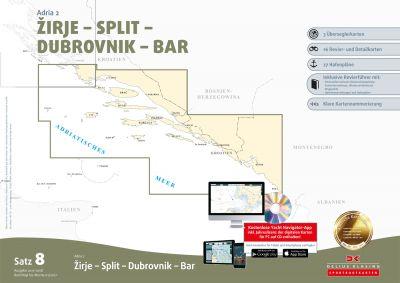 Seekartensatz 8 Adria 2 Zadar Dubrovnik Bar Montenegro, Papier & Digitale Seekarte