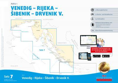 Seekartensatz 7 Adria 1 Venedig bis Südkornaten, Papier & Digitale Seekarte