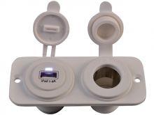 Talamex Doppeladapter USB Buchse- Zigarettenanzünder 12V